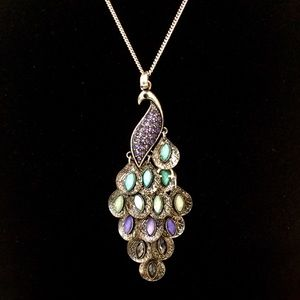 Peacock Pendant Long Length Necklace CrystalSilver